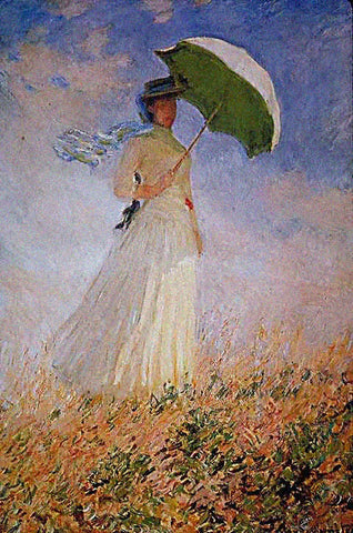 Claude Monet-Lady With Parasol Facing Right 1886