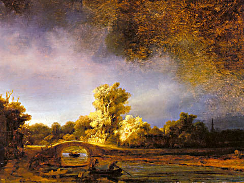 Rembrandt-Landscape With A Stone Bridge