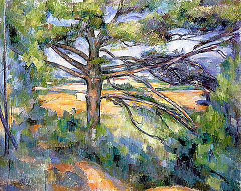 Paul Cezanne-Large Pine And Red Earth