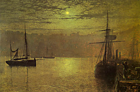 John Atkinson Grimshaw-Lights In The Harbor 1879