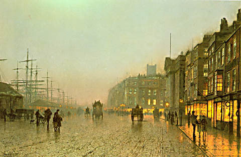John Atkinson Grimshaw-Liverpool From Wapping 1875