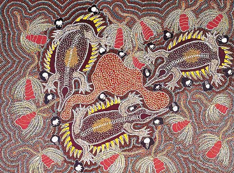 Terry Johnstone (Tobwabba Art)-Echidnas Feeding