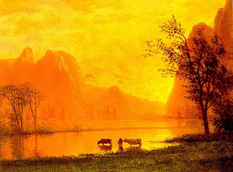 Albert Bierstadt-Sundown At Yosemite