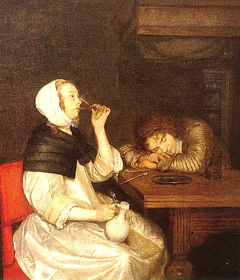 Borch-Woman Drinking Wine
