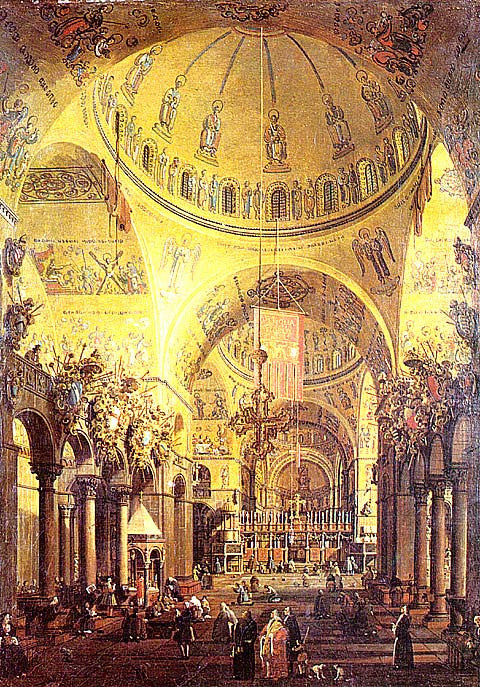 Canaletto- Interior Of The Basilica Of San Marco