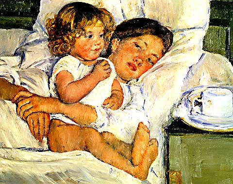 Mary Cassatt-Breakfast in Bed