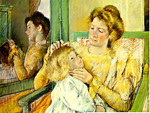 Mary Cassatt-Mother combing her child hair