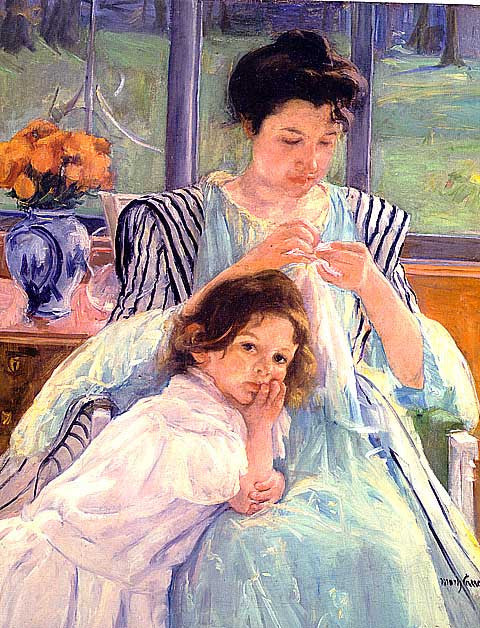 Mary Cassatt-Young Mother Sewing
