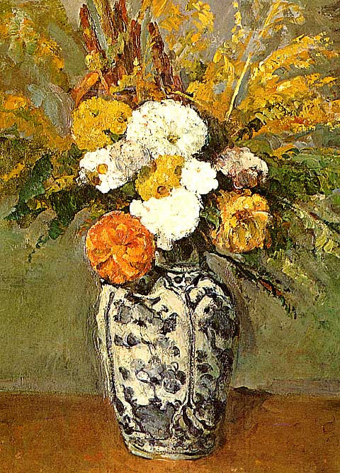 Paul Cezanne-Dahlias in a Delft Vase