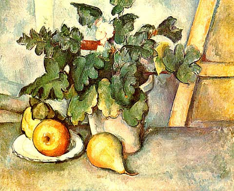 Paul Cezanne-Pot of Flowers and pears