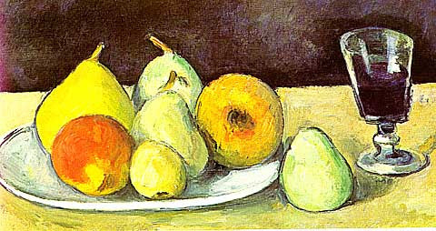 Paul Cezanne-Glass and Pears