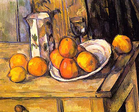 Paul Cezanne-Still Life With Plate And jar