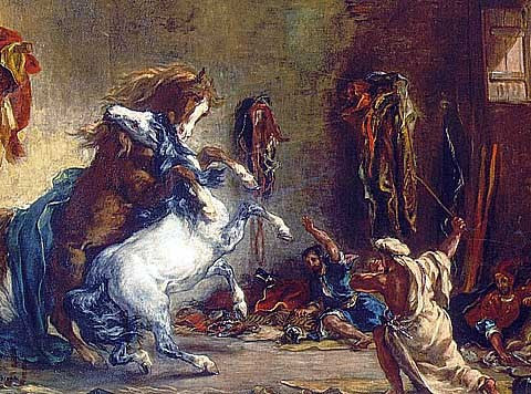 Delacroix-Arab Horses Fighting