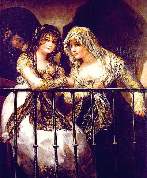 Francisco de Goya-Majas on a Balcony