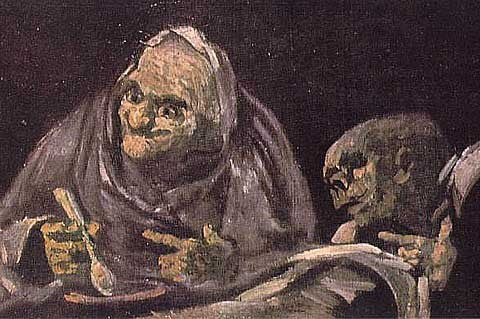 Francisco de Goya-Two Old Women Eating from a Bowl