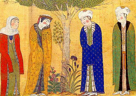 Unknown Artist-Four Figures Beneath A Tree Iran 15th Century