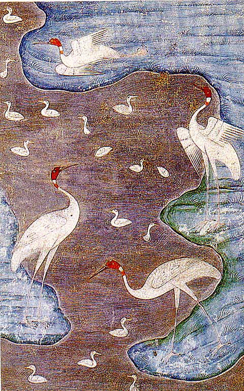 Unknown Artist-Dancing Cranes And Ducks