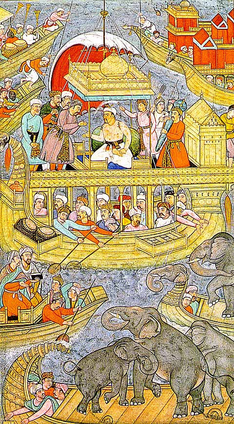 Unknown Artist-The Emperor Akbar Crossing A River