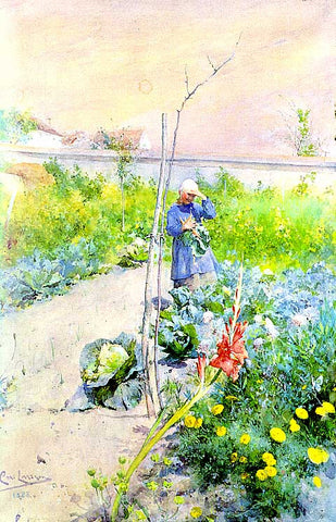 Carl Larsson- In The Kitchen Garden