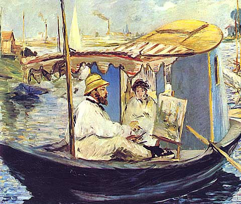Edouard Manet-Monet in his studio boat