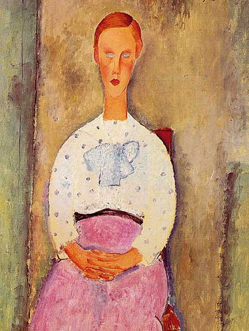 Amadeo Modigliani-Girl with a Polka-Dot Blouse