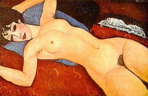Amadeo Modigliani-Nude in a Cushion