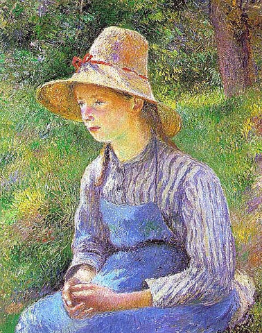 Camille Pissarro-Peasant Girl with a Straw Hat