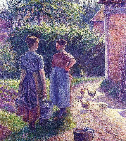 Camille Pissarro-Peasants Chatting in the Farmyard