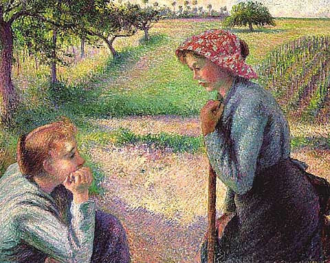 Camille Pissarro-Two Young Peasant Women