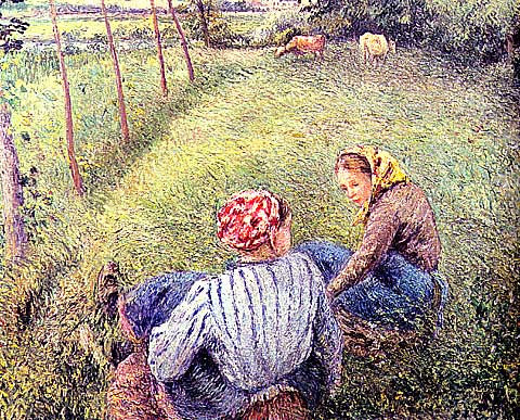 Camille Pissarro-Peasants Guarding The Cows