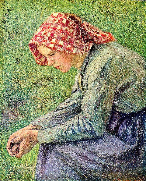 Camille Pissarro-Woman With A Red Kerchief