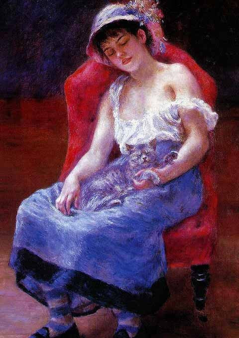 Pierre Auguste Renoir-Girl with a cat