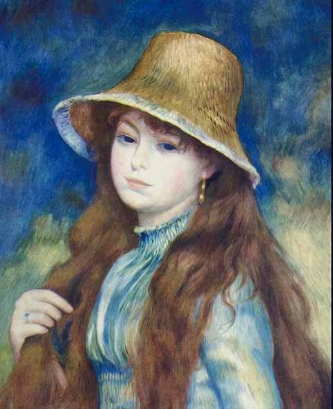 Pierre Auguste Renoir-Girl In Straw Hat