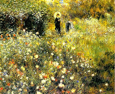 Pierre Auguste Renoir-Woman With Parasol In A Garden