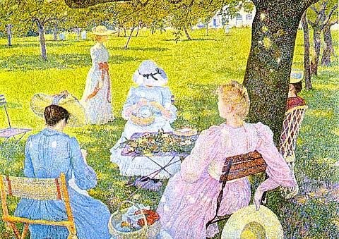 Rysselberghe- Family in an Orchard