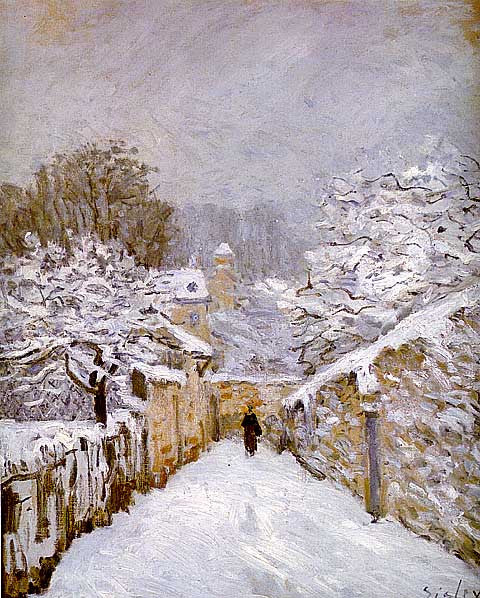 Alfred Sisley-Snow At Louveciennes
