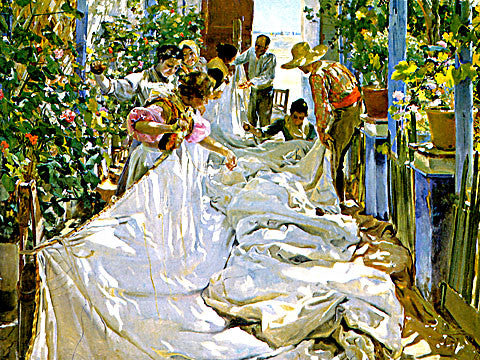 Joaquin Sorolla-Sewing The Sail