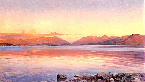 Johann Steffan-Evening Twilight at the Lake