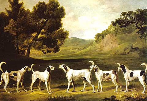 George Stubbs-Foxhounds in a Landscape