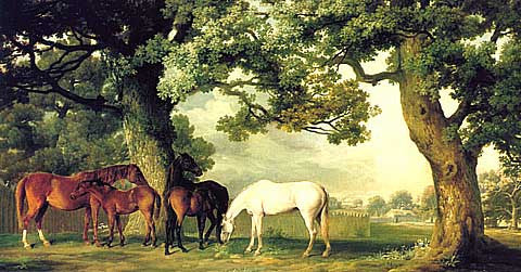 George Stubbs-Mares And Foals Under A Oak