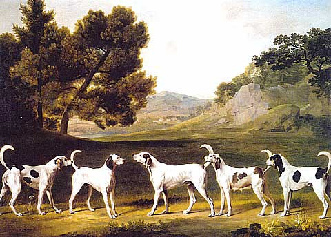 George Stubbs-Staghounds In A Landscape