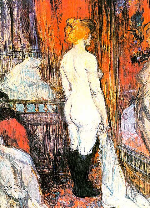 Henri de Toulouse Lautrec-Nude Woman Standing In Front Of A Mirror