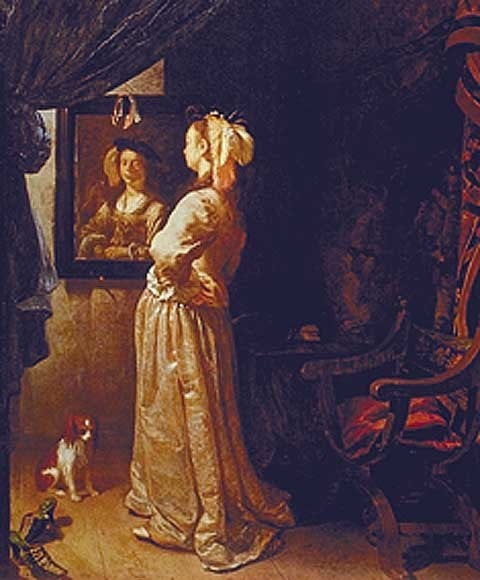 Van Mieris-Lady Looking In Mirror