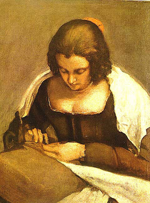 Diego Velazquez-Woman Sewing