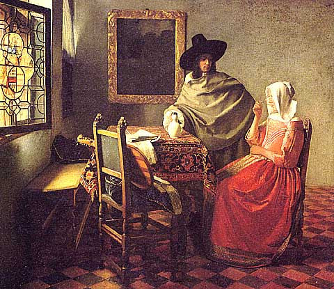 Jan Vermeer-Girl drinking Wine