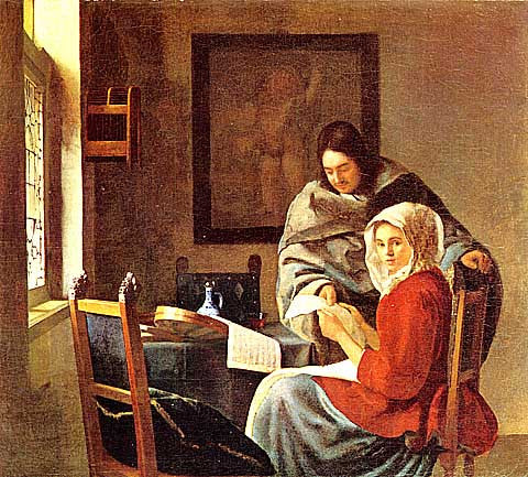 Jan Vermeer-Gentleman And Girl With Music Instruments