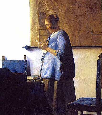 Jan Vermeer-Woman in Blue Reading a Letter