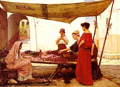 John William Waterhouse-A Flower Stall