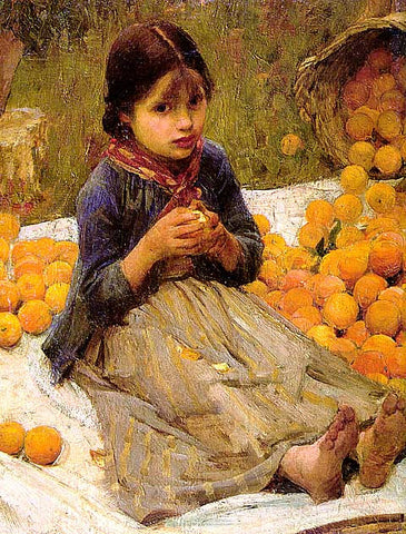 John William Waterhouse-The Orange Gatherers (Detail)