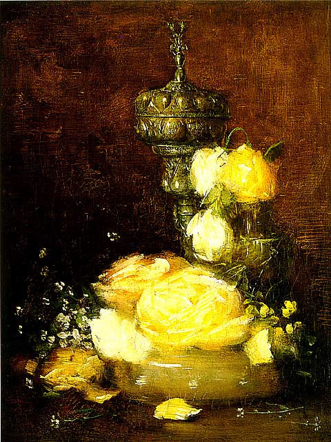 Alden Weir-Silver Chalice With Roses